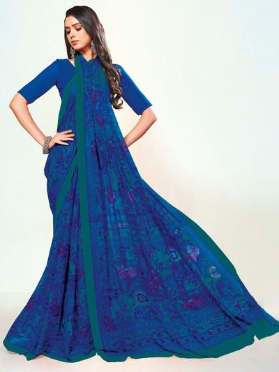 Attractive royal blue printed georgette saree