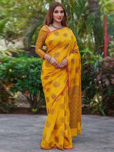 Attractive yellow festive wear handloom cotton saree for women