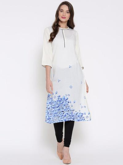 Aurelia Printed casual wear kurti in white color