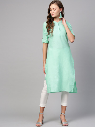 Aurelia solid sea green casual wear kurti