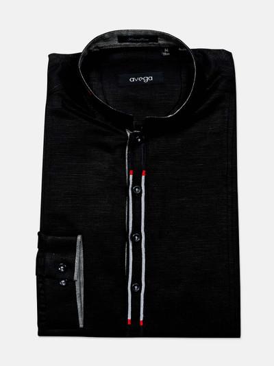 Avega black cotton cut away collar shirt