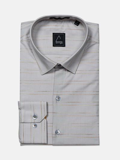 Avega cotton fabric grey stripe mens shirt