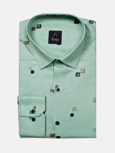 Avega cotton fabric pista green printed mens shirt