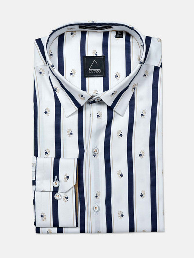 Avega cotton white printed mens formal shirt