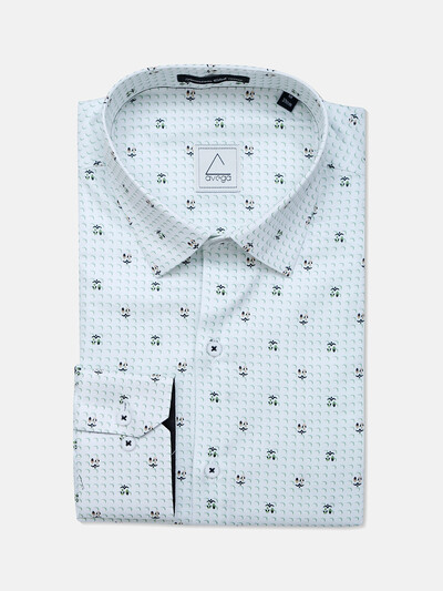 Avega cotton white printed mens shirt