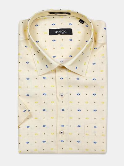 Avega cut away collar orange printed linen shirt