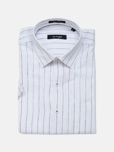 Avega cut away collar white stripe shirt in linen