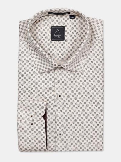 Avega formal function beige printed shirt