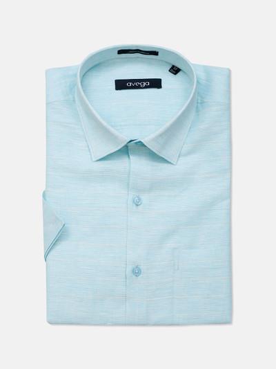 Avega linen fabric aqua stripe mens shirt