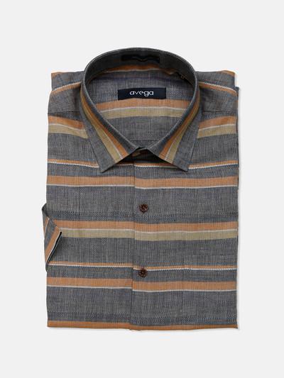 Avega linen grey stripe slim fit shirt