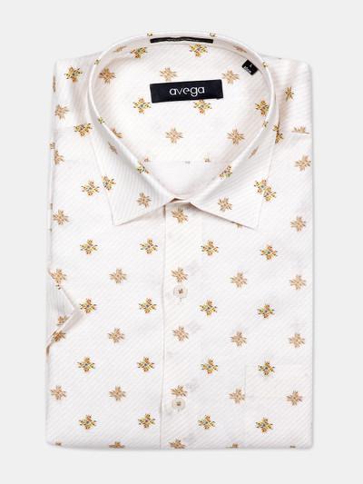 Avega off white printed pattern linen shirt