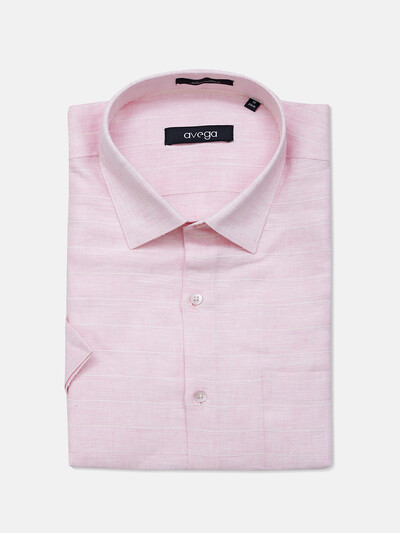 Avega pink linen formal wear shirt