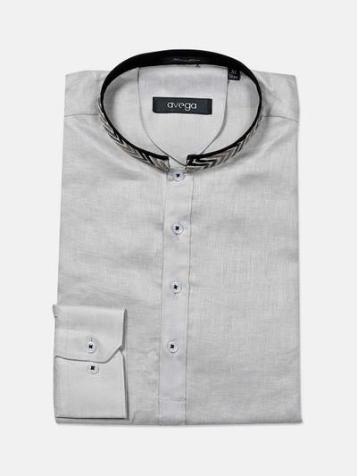 Avega presented solid grey cotton shirt