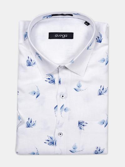 Avega presented white printed formal linen shirt
