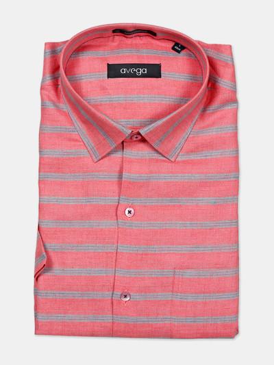 Avega printed cream linen formal shirt for mens