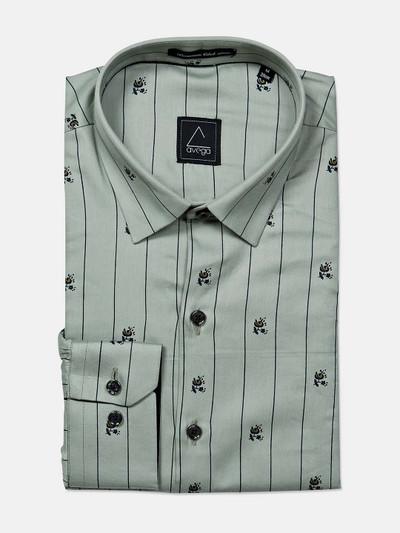 Avega printed green cotton formal shirt for mens