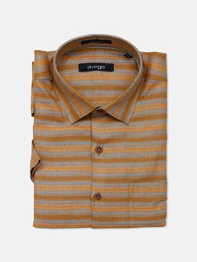 Avega stripe linen fabric rust orange shirt
