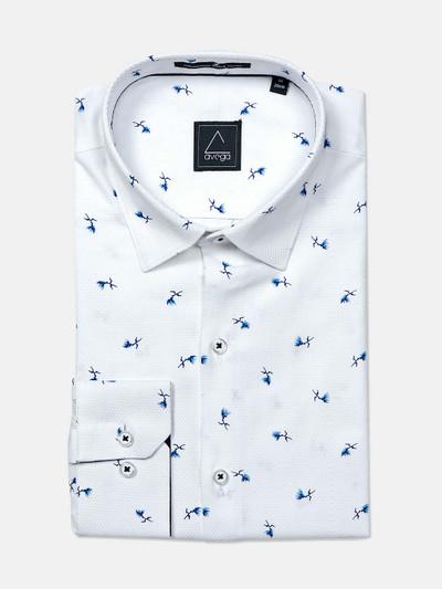 Avega white color printed slim fit cotton shirt