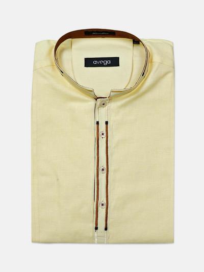 Avega yellow cotton formal wear shirt