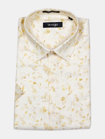 Avega yellow cotton printed linen shirt