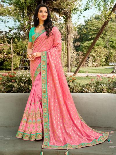 Baby pink cotton silk saree for wedding