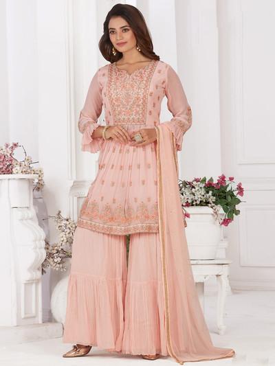 Baby pink georgette designer punjabi style sharara suit