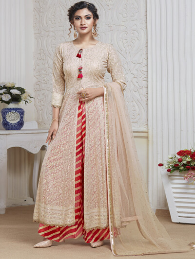 Baby pink party wear palazzo suit for women