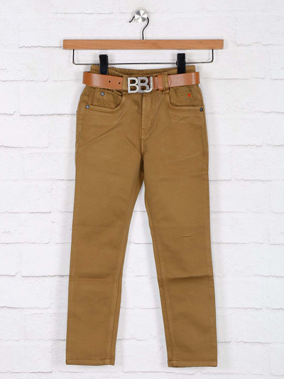 Bad Boys brown solid elasticated jeans
