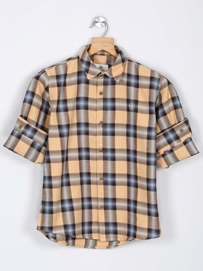Balazo beige checks pattern cotton shirt