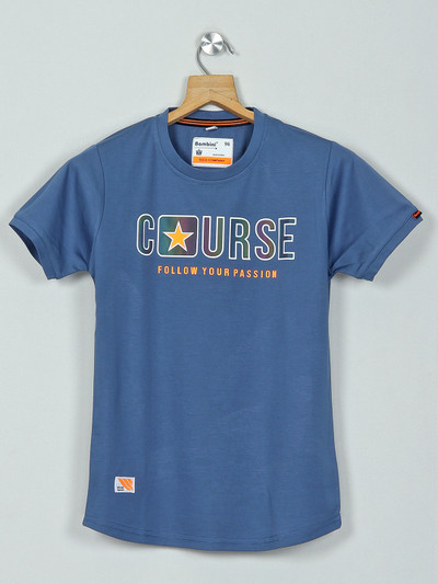 Bambini blue casual cotton t-shirt with print