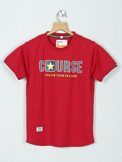 Bambini cotton printed t-shirt in maroon