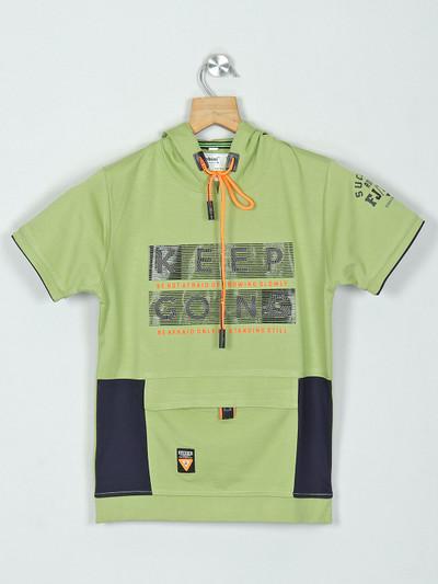 Bambini green cotton hooded t-shirt
