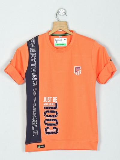 Bambini peach printed cotton t-shirt