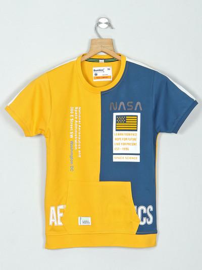 Bambini printed mustard yellow cotton slim fit t-shirt
