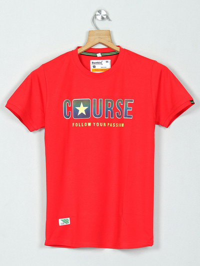 Bambini red cotton printed t-shirt