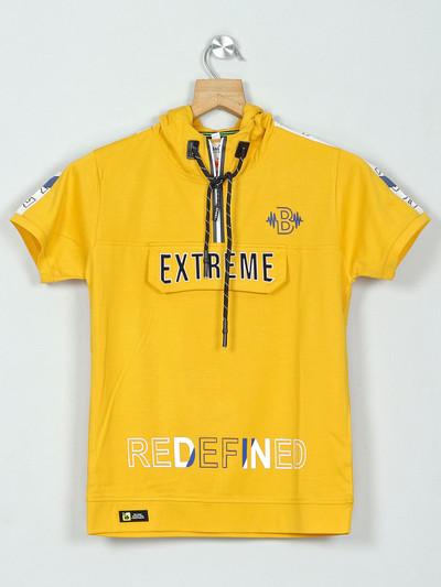 Bambini yellow printed hooded boys t-shirt