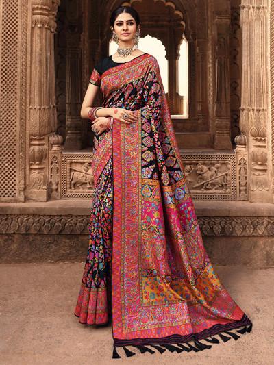 Banarasi kora silk black wedding functions saree
