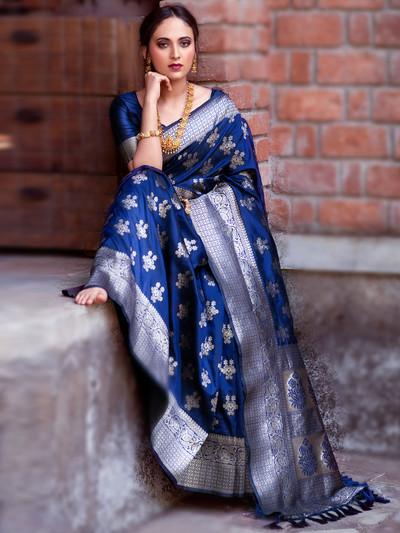 banarasi silk blue saree for women