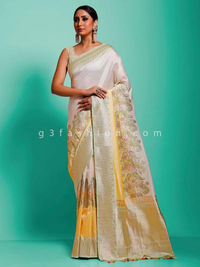 Banarasi pure muga silk off white minakari wedding saree