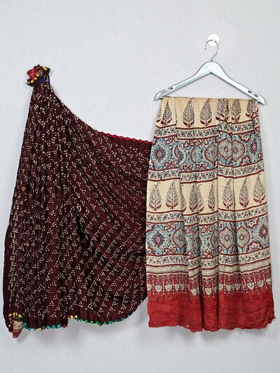 Bandhej fabric maroon and red saree
