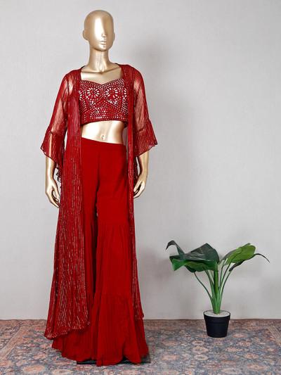 Beauitful maroon georgette wedding sharara suit