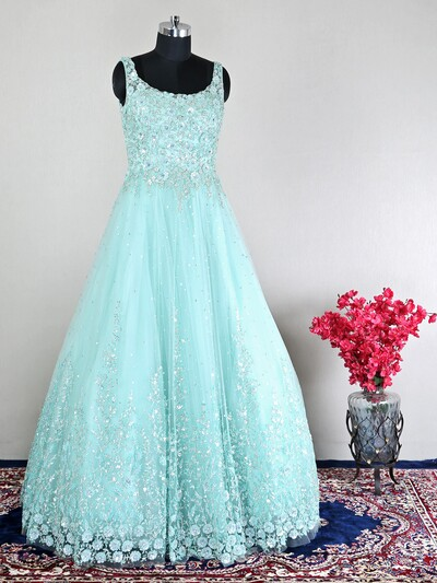 Beautful aqua net partywear gown