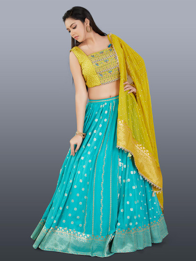 Beautiful aqua and yellow wedding wear lehenga choli