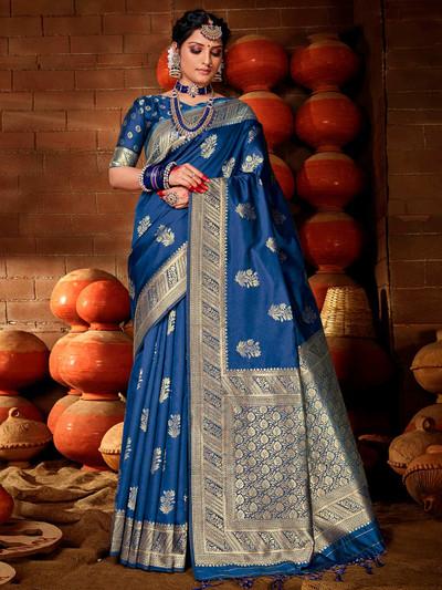 Beautiful banarasi silk saree in blue color