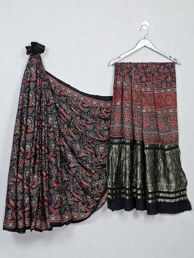 Beautiful black color festive wear bandhej saree
