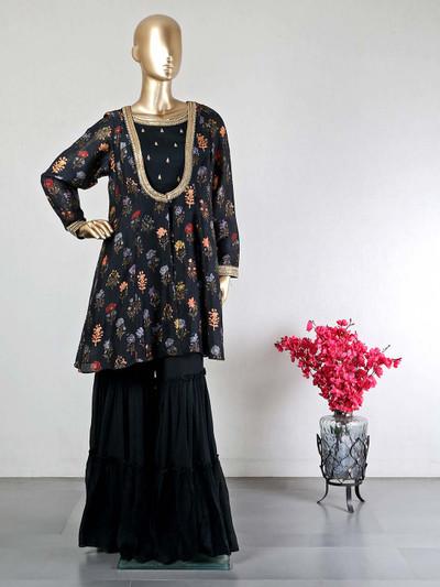 Beautiful black cotton wedding wear sharara suit