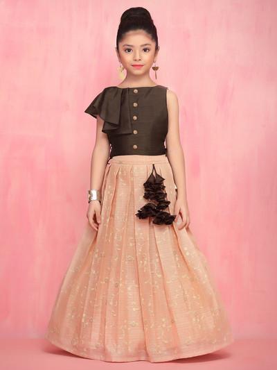 Beautiful brown raw silk lehenga choli for wedding functions