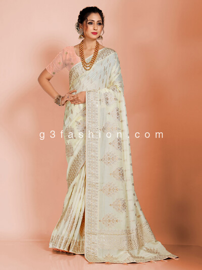 Beautiful cream saree in dola silk