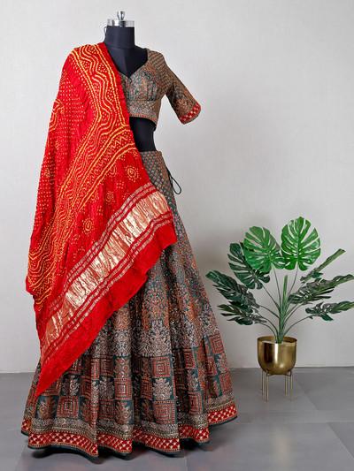 Beautiful green raw silk lehenga choli for wedding and bridal wear