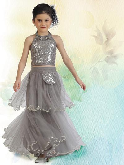 Beautiful grey net lehenga choli for wedding functions